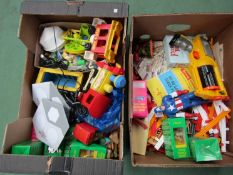 Two boxes of mixed toys includng Nerf gun,