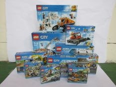 Ten unopened Lego City sets; 61071, 60077, 60157, 7499, 60152, 60139, 60151, 60222,