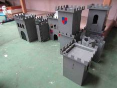 A painted metal fort