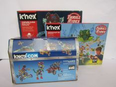 Three KNex sets including Thrill Rides Cobweb Curse and Ripping Raptor and 35 Model Ultimate