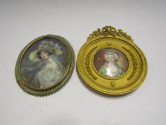 Two gilt and ormolu framed miniature portraits of lady's,