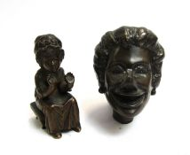 A cast bronze figure small child and bust of female approx 7.