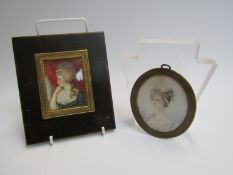 Two 19th Century miniature portraits of lady's, one with ribbon in her hair, 7.
