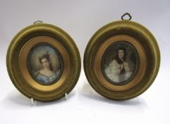 Two 20th Century oval miniature portraits of lady's in velour frames