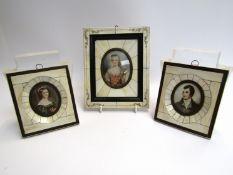 Three miniature portraits frames 12 & 18cm tall