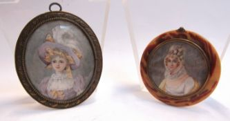 Two miniature portraits, lady wearing a feathered hat and lady wearing a bonnet 8.