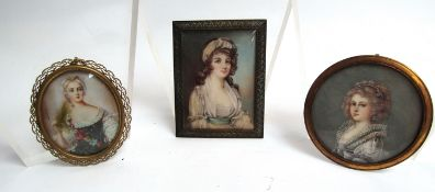 Three miniature portraits of females, 6, 6.5, & 7.