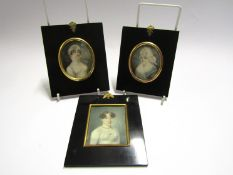 Three 19th Century miniature portraits of ladies