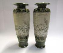 Two Royal Doulton tall vases, sheep grazing by Hannah B.