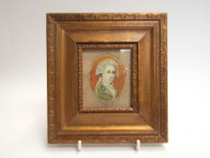 A 19th Century miniature portrait of gentleman with grey curly hair,