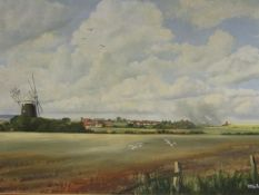 D. COOPER (XX) A framed oil on canvas, scene of Burnham Overy, Norfolk.