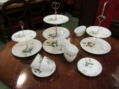 Three Alfred Meakin/Myott tiered Mallard print cake stands and four matching cups and saucers