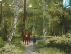 JAMES VERNON (XX/XXI) A framed and glazed oil on paper, horse and rider on woodland path, signed,