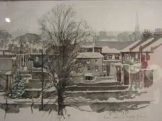 "G. MURRAY: 20th Century British artist ""Snow Scene at Brook Green"" (London) 1979."