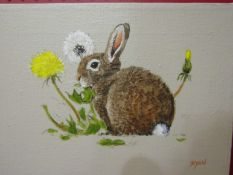RYAN: An oil on canvas depicting a bunny amongst dandelions,