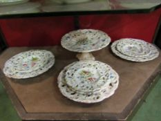 A handpainted floral design Faience dessert set
