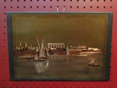 "E.L SHAMI - An etched copper wall plaque, ""View of the Ruins of Luxor"", from the Nile, 18."