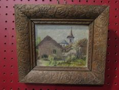 An oil on board of a Tyrolean scene in decorative carved frame, signed lower right,