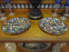 A pair of Grimwade plates of mosaic design,