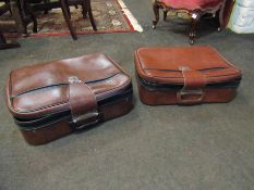 Two vintage suitcases along with assorted table ware sets, barometer,