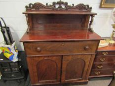 A mahognay secretaire with raised gallery back, single drawer over two doors, 140cm tall,