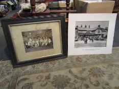Two vintage group photographs, one depicting couple in period costume with bicycles,