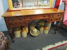 A Victorian mahogany ladies desk with five drawers,