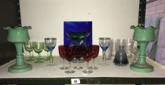 A good lot of old glass items including cranberry and a pair of lustres 1 a/f
