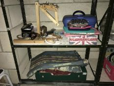 2 shelves craft , tapestry, sewing, knitting needles etc.