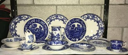 Large quantity of blue and white china