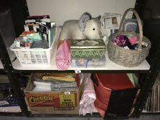 2 shelves of sewing items