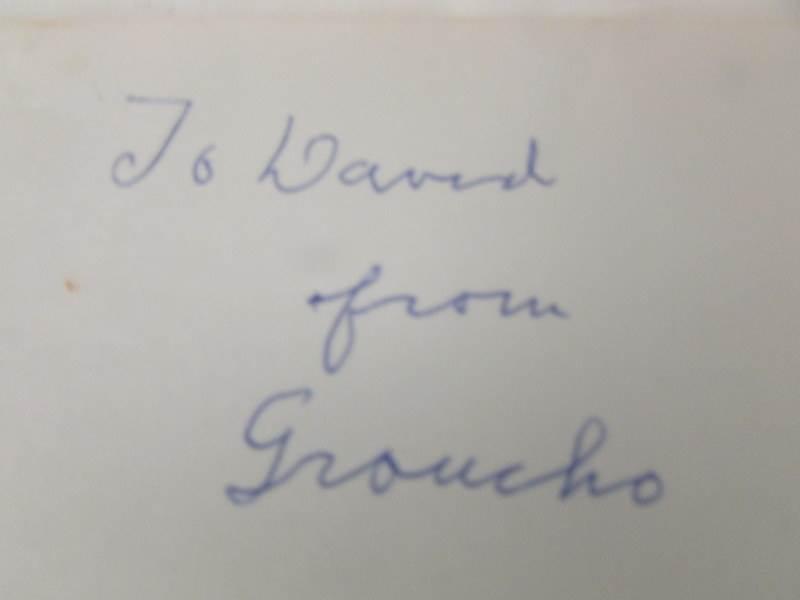 Lot 2311 - A card autographed 'Groucho' (Marx).