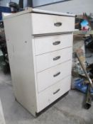 A sturdy 5 drawer workshop/shed cabinet.