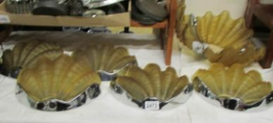 A Deco shell ceiling light with 5 matching wall lights.