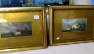 A pair of framed and glazed watercolours of sheep signed A Bert (1 glass a/f).