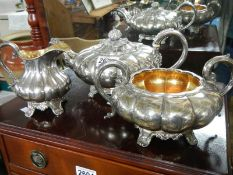 A Victorian 3 piece silver plate tea set with gilt interior.