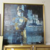 An original abstract oil on canvas naval officer in full dress, signed Rutter, image 84 x 85 cm.