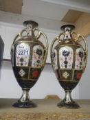 """A pair of Crown Derby vases, 11"""" tall. In good order. No damage."""