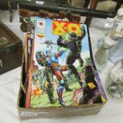 A quantity of action comics.