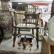 A splat back oak carver chair.