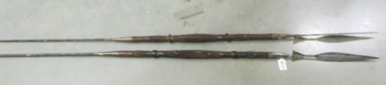 2 antique mid 19th century tribal spears