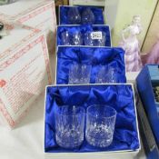 4 boxed pairs of lead crystal glasses.