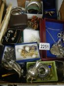 A large tray of excellent costume jewellery including silver and rings