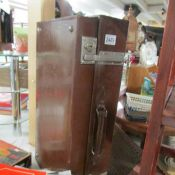 A vintage leather suitcase.