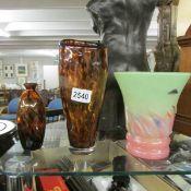A Scottish glass vase and 2 Murano tortoise shell glass vases.