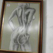 A framed and glazed nude study.