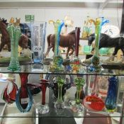 19 pieces of art and coloured glass ware including baskets, posy vases, bowls etc.
