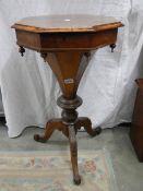 An Edwardian mahogany octagonal sewing table, a/f.