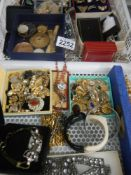 A large tray of good costume jewellery including rings, watch parts etc.
