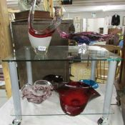 7 pieces of art and studio glass ware.